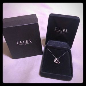 Zales heart silver and diamond accent necklace